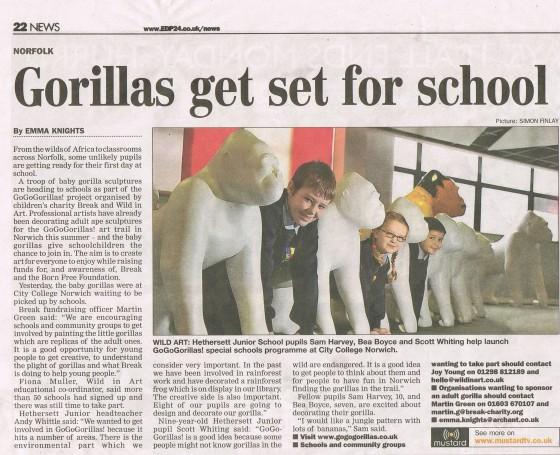 Go Go Gorillas visiting schools - Eastern Daily Press
