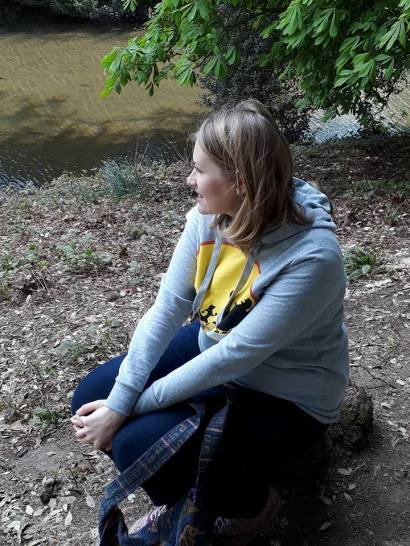 Kate on conservation sitting outside