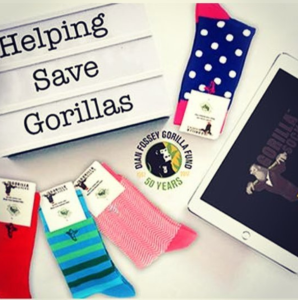 Gorilla Socks; bamboo socks supporting Dian Fossey Fund International